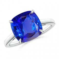 Vintage Inspired Solitaire Cushion Tanzanite Cocktail Ring