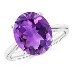 Classic Prong Set Solitaire Oval Amethyst Cocktail Ring