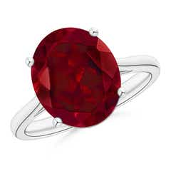 Classic Prong Set Solitaire Oval Garnet Cocktail Ring