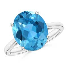 Oval Solitaire Swiss Blue Topaz Cocktail Ring