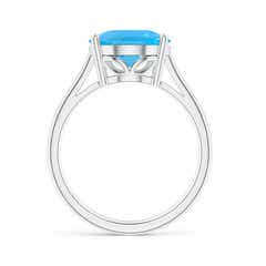 Toggle Oval Solitaire Swiss Blue Topaz Cocktail Ring