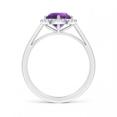 Toggle Floating Round Amethyst Ring with Diamond Halo