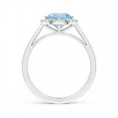 Toggle Floating Round Aquamarine Ring with Diamond Halo