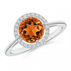 Floating Round Citrine Ring with Diamond Halo