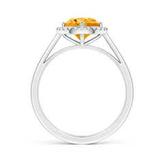 Toggle Floating Round Citrine Ring with Diamond Halo
