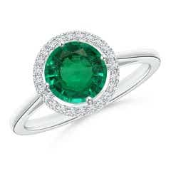 Floating GIA Certified Emerald Ring with Diamond Halo