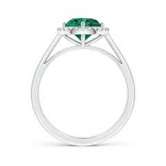 Toggle Floating GIA Certified Emerald Ring with Diamond Halo