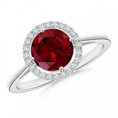 Floating Round Garnet Ring with Diamond Halo