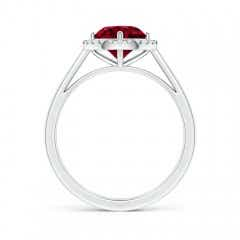 Toggle Floating Round Garnet Ring with Diamond Halo