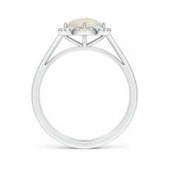 Toggle Floating Round Opal Ring with Diamond Halo