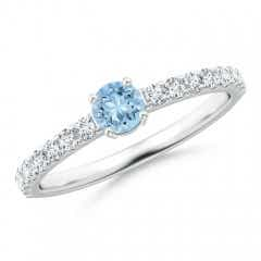 Classic Solitaire Aquamarine Promise Ring with Pave Diamonds