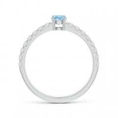 Toggle Classic Solitaire Aquamarine Promise Ring with Pave Diamonds