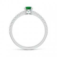 Toggle Classic Solitaire Emerald Promise Ring with Pave Diamonds