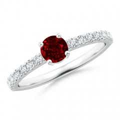 Classic Solitaire Ruby Promise Ring with Pave Diamonds