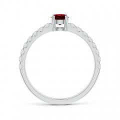 Toggle Classic Solitaire Ruby Promise Ring with Pave Diamonds