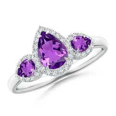 Claw-Set Pear Amethyst Three Stone Ring with Diamond Halo