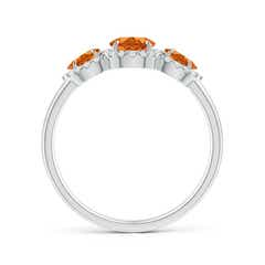 Toggle Claw-Set Pear Citrine Three Stone Ring with Diamond Halo