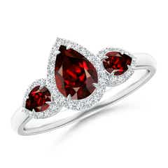 Claw-Set Pear Garnet Three Stone Ring with Diamond Halo