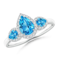 Claw-Set Pear Swiss Blue Topaz Three Stone Ring with Halo