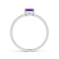 Toggle East-West Emerald-Cut Amethyst Solitaire Ring