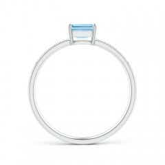 Toggle East-West Emerald-Cut Aquamarine Solitaire Ring