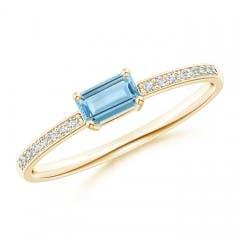 East-West Emerald-Cut Aquamarine Solitaire Ring