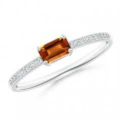 East West Emerald Cut Citrine Solitaire Ring with Pave Diamonds