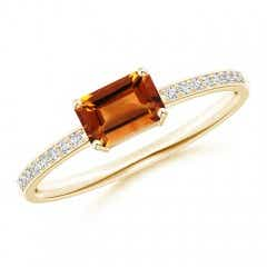 East-West Emerald-Cut Citrine Solitaire Ring