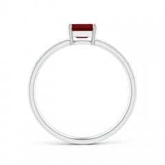 Toggle East-West Emerald-Cut Garnet Solitaire Ring