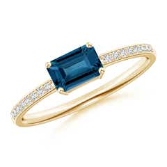 East-West Emerald-Cut London Blue Topaz Solitaire Ring