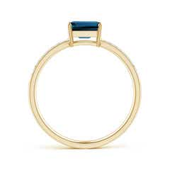 Toggle East-West Emerald-Cut London Blue Topaz Solitaire Ring
