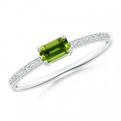 East West Emerald Cut Peridot Solitaire Ring with Pave Diamonds