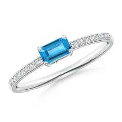 East West Emerald Cut Swiss Blue Topaz Solitaire Ring with Diamonds