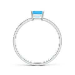 Toggle East-West Emerald-Cut Swiss Blue Topaz Solitaire Ring