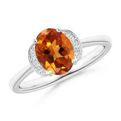 Solitaire Oval Citrine and Diamond Collar Ring