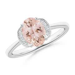 Solitaire Oval Morganite and Diamond Collar Ring