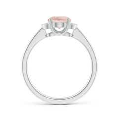 Toggle Solitaire Oval Morganite and Diamond Collar Ring