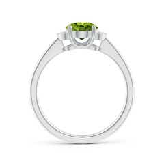 Toggle Solitaire Oval Peridot and Diamond Collar Ring