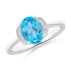 Angara Knife-Edged Oval Swiss Blue Topaz Solitaire Ring with Diamonds iahWTJ