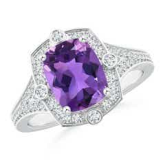 Art Deco Inspired Cushion Amethyst Ring with Diamond Halo