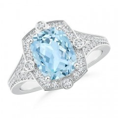 Art Deco Inspired Cushion Aquamarine Ring with Diamond Halo