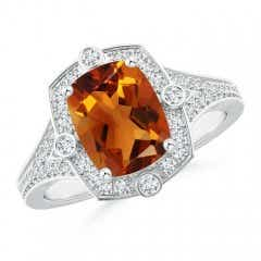 Art Deco Inspired Cushion Citrine and Diamond Halo Ring