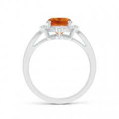 Toggle Art Deco Inspired Cushion Citrine Ring with Diamond Halo