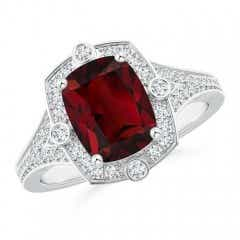 Art Deco Inspired Cushion Garnet Ring with Diamond Halo