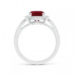Toggle Art Deco Inspired Cushion Garnet Ring with Diamond Halo