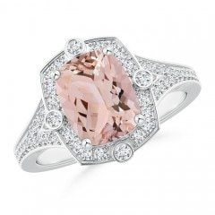 Art Deco Inspired Cushion Morganite Ring with Diamond Halo
