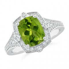 Art Deco Inspired Cushion Peridot Ring with Diamond Halo