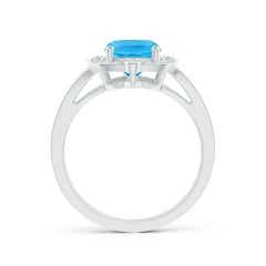 Toggle Art Deco Inspired Cushion Swiss Blue Ring with Diamond Halo