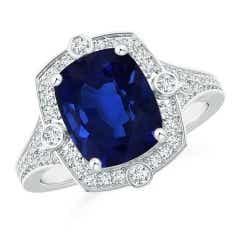 Angara GIA Certified Cushion Sri Lankan Sapphire East-West Halo Ring