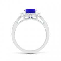 Toggle Art Deco Inspired Cushion Tanzanite Ring with Diamond Halo